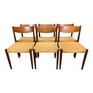 Set of Six Vintage Mid Century Danish Modern Afromasia Teak Dining Chairs Model 213 by Th. Harlev for Farstrup Mobler For Sale