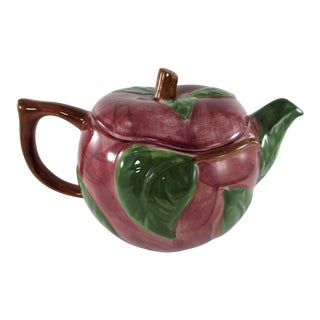Vintage Franciscan Pottery Hand Painted Red Apple Shaped Teapot With Embossed Leaves, Portugal For Sale