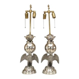 19th Century American Victorian style silver plate eagle base oil lamps- A Pair For Sale