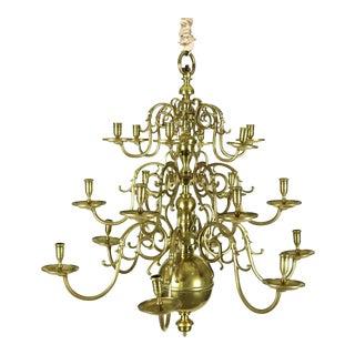 Dutch Brass Triple Tier, 18 Light Chandelier, Circa 1860 For Sale