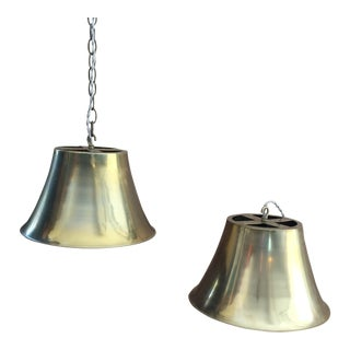 1970s Vintage Brass Bell Pendant Lights - A Pair For Sale