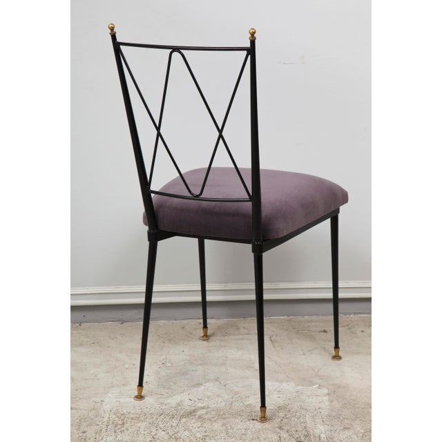 Set of Six Wrought Iron Chairs With Brass Finials For Sale In New York - Image 6 of 11
