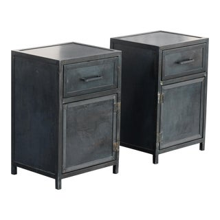 Custom Industrial Steel Nightstand Lowboy Cabinets by Rehab Vintage Interiors, Available Now and Made to Order