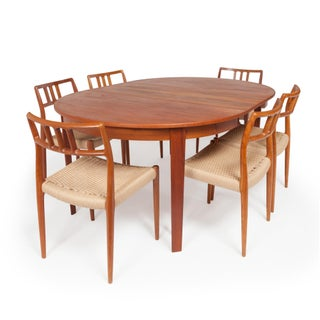 Vintage Danish Teak Dining Table With Six Niels Otto Møller Model #79 Teak Dining Chairs Preview