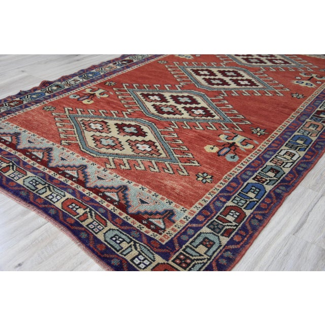 Vintage Oushak Wool Hand Knotted Rug - 4′6″ × 8′1″ - Image 10 of 11