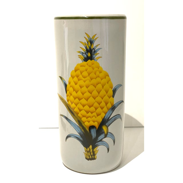 Umbrella Stand Italian Fornasetti Style Double Pineapple Welcome Motif Glazed Ceramic Mid-century - acquired from a Palm...
