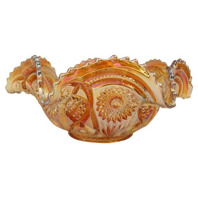 Imperial Glass Co. Marigold Ruffled Glass Bowl - Image 1 of 6