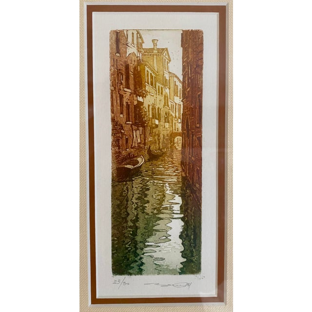 Handsome vintage original ink & watercolor painting featuring canal homes & gondolas. Beautiful tones, excellent matting &...
