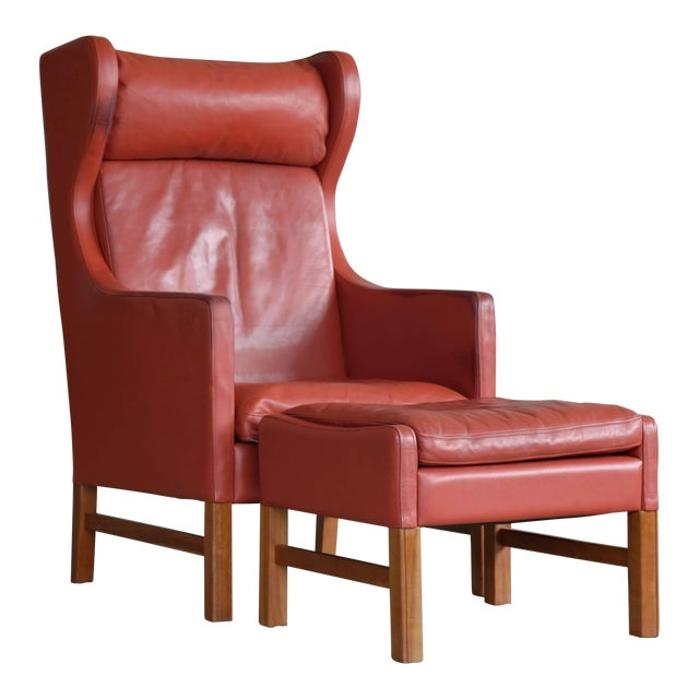 Svend Skipper Danish Wingback Armchair and Ottoman Model Admiral in Red Leather For Sale