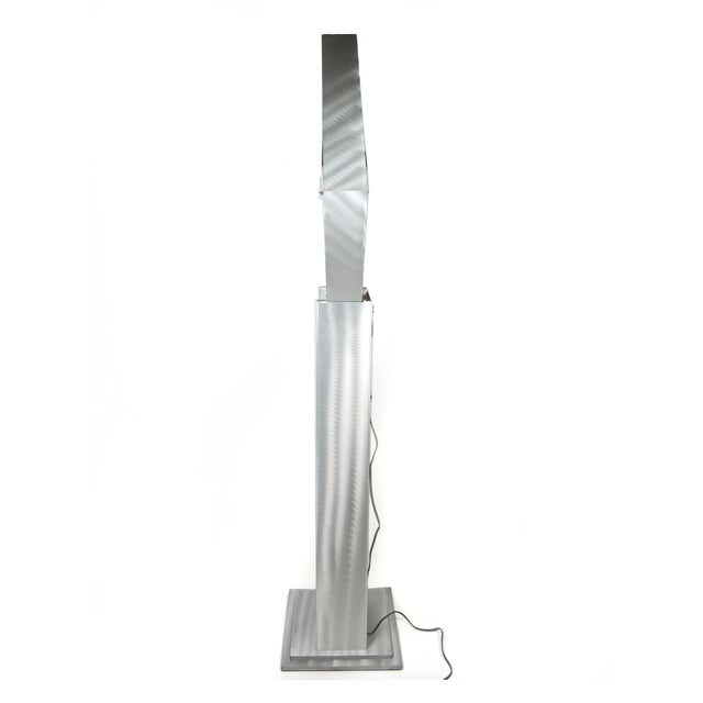 Brushed Aluminum Infinity Clock With Stand For Sale - Image 9 of 13