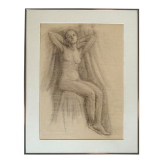1910-20 Art Studio Female Nude Charcoal Portrait Drawing For Sale