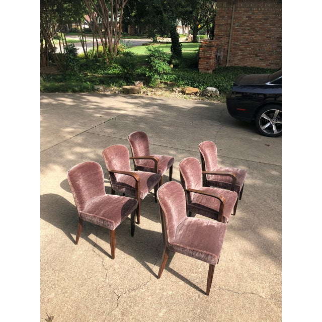 Art Deco 1930s Vintage Macassar and Mohair Dining Chairs - Set of 6 For Sale - Image 3 of 11