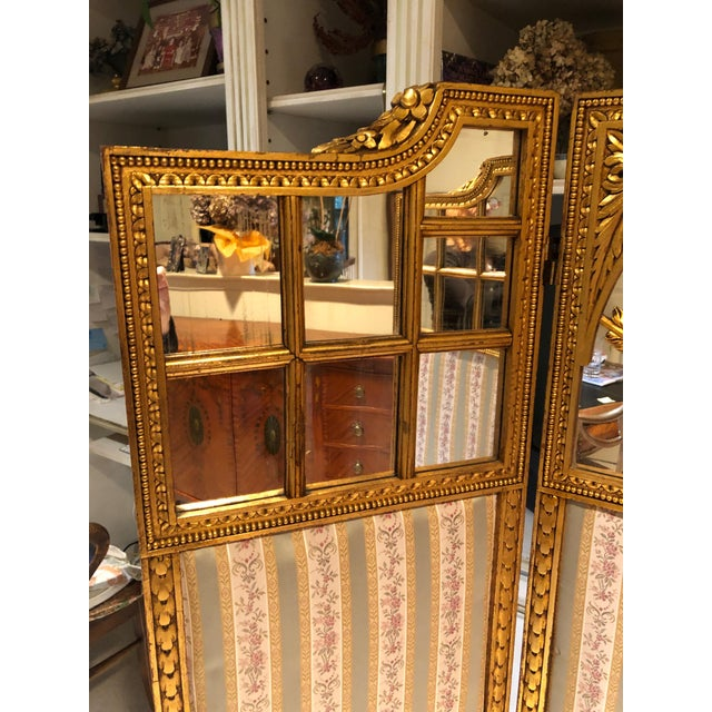 French Neoclassical Revival Giltwood Mirror and Upholstered 3-Panel Screen For Sale In New York - Image 6 of 13