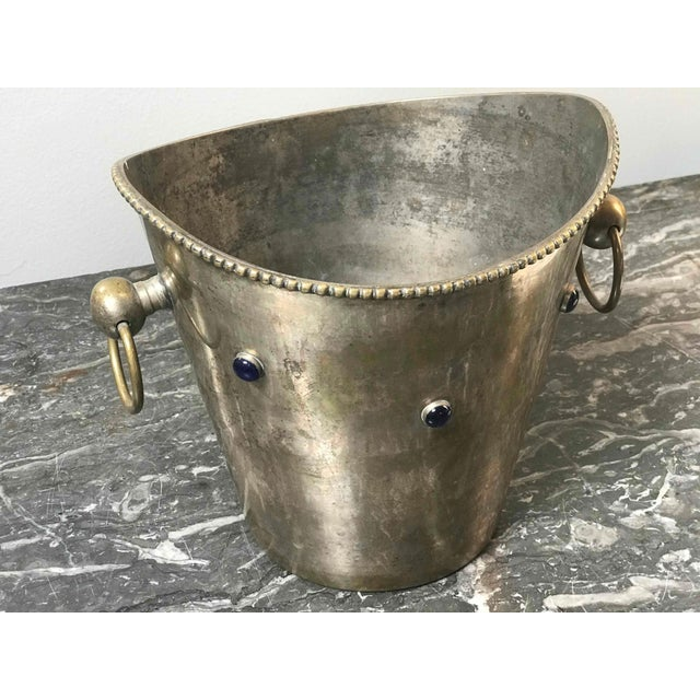 French Pair of Champagne or Wine Buckets With Blue Stones From France Circa 1900 For Sale - Image 3 of 5
