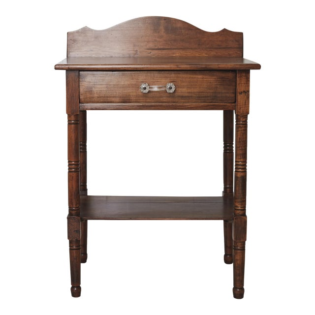 19th Century Traditional Fruitwood Wash Table With Lined Drawer For Sale