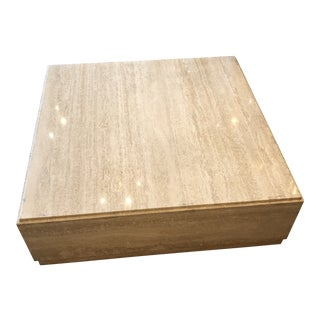 Polished Travertine Plinth Cocktail Table For Sale