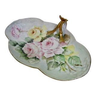 Antique Limoges France Hand Painted Rose Dessert Tray For Sale