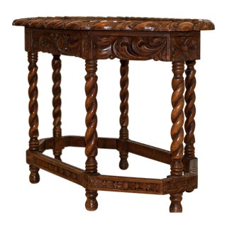 Spanish Colonial Hand Carved Glass Top Tray Table