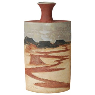 Circa 1980 R. Miller Slab Built Relief Stoneware Vase, For Sale