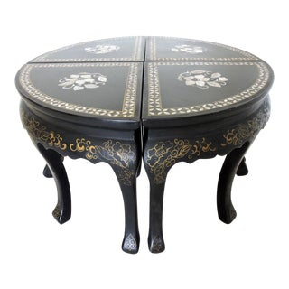 Oriental Inlaid Black Lacquer Coffee /Side Table/Four Stools/Pair Demi Lunes