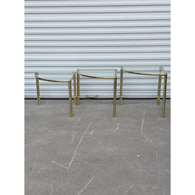1960s Mid Century Milo Baughman Glass Top Corner Nesting Tables - 3 Pieces For Sale - Image 5 of 11