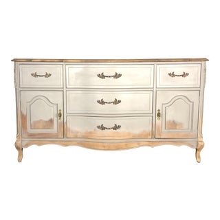 French Provincial Distressed Gray and Natural Wood Buffet / Dresser