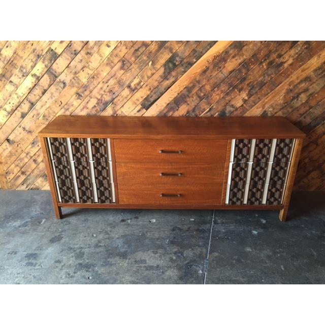 Mid Century Refinished Mahogany Brutalist 9 Drawer Dresser - Image 3 of 7