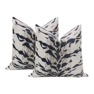 """22"""" White Tiger Velvet Pillows - a Pair For Sale"""