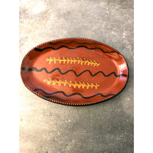 Ceramic Redware Platter With Yellow Slip and Pie Crust Edge For Sale - Image 7 of 7