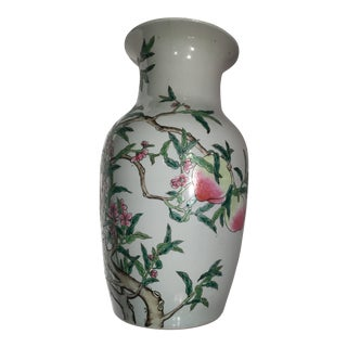 Chinese Good Luck Bats and Peaches Motif Vase For Sale