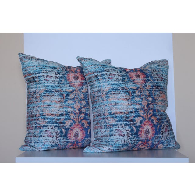 Blue Ikat Distressed Print Pillow Cover - A Pair For Sale - Image 5 of 5