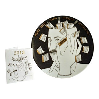 Barnaba Fornasetti Porcelain Calendar Plate 2013. Number 398 of 700 made. For Sale