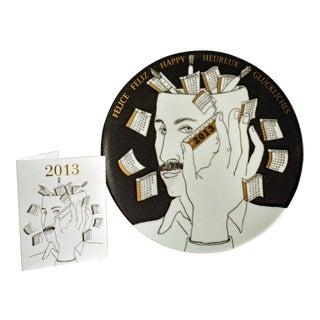 Barnaba Fornasetti Porcelain Calendar Plate 2013. Number 398 of 700 made.