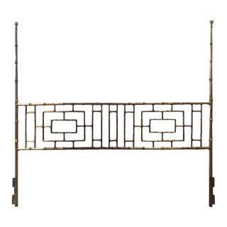 Vintage Faux Bamboo Chinese Chippendale King-Size Headboard