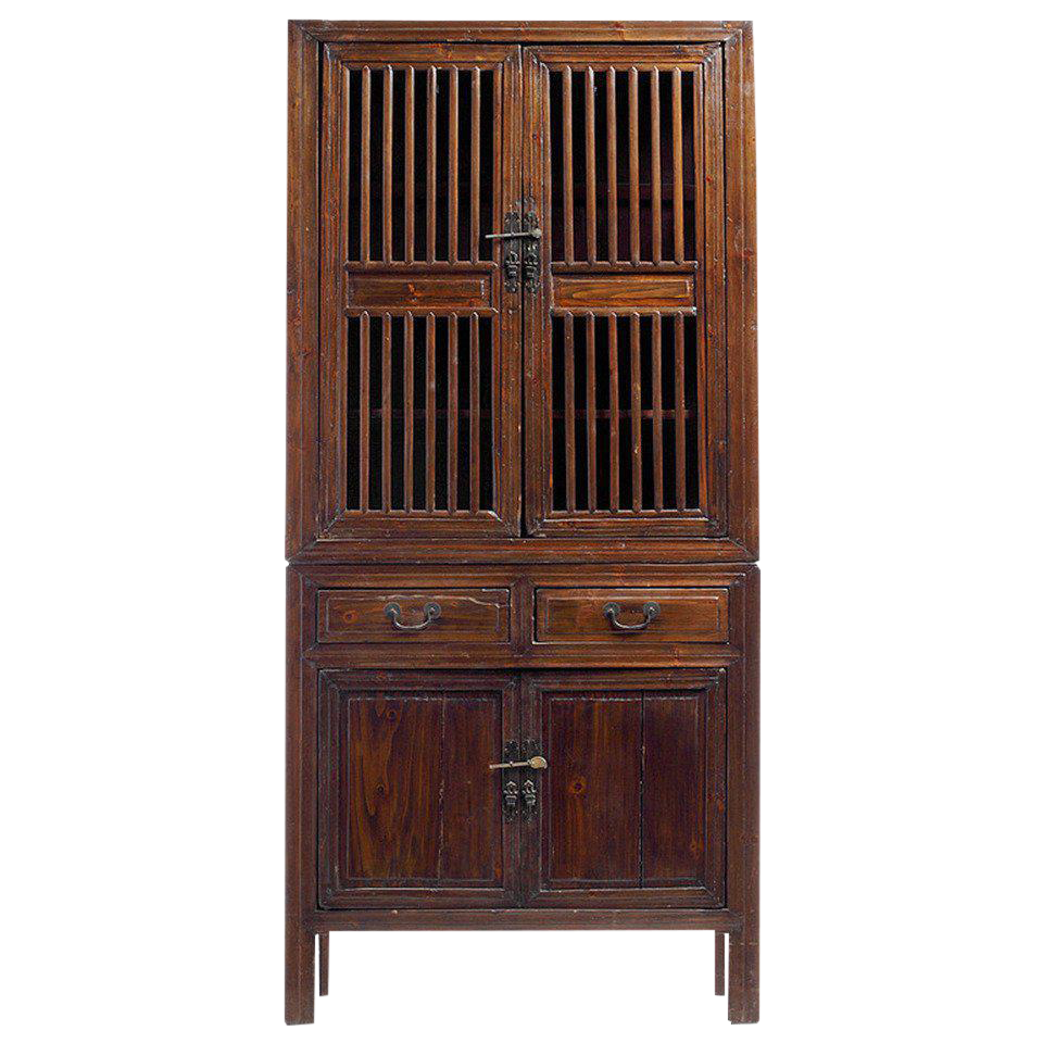 Etonnant Antique Kitchen Cabinet With Fretwork Doors From The Late 19th Century,  China