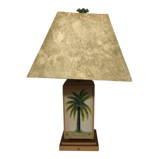Ceramic Hand Painted Palm Tree Buffet Table Lamp Sold With Lamp Shade For Sale