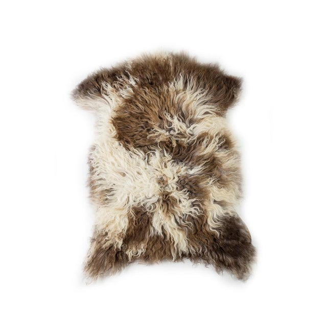 "Animal Skin Contemporary Handmade Wool Sheepskin Pelt Rug - 2'0""x2'9"" For Sale - Image 7 of 7"