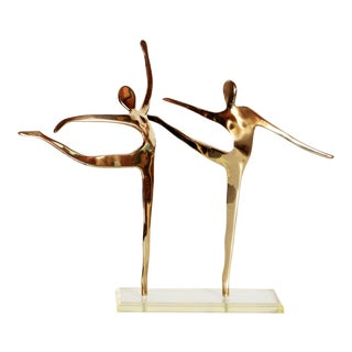 1980s Dolbi-Cashier Polished Brass Modernist Dancers Sculpture For Sale