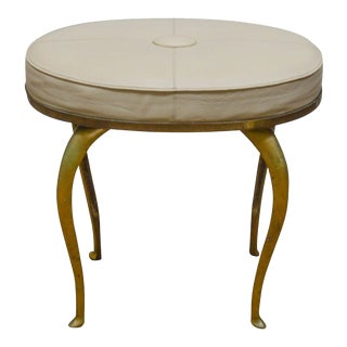 Global Views Brass Oval Leather Seat Stool For Sale