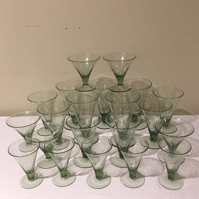 Vintage Green Holiday Glasses - Set of 21 For Sale - Image 4 of 5