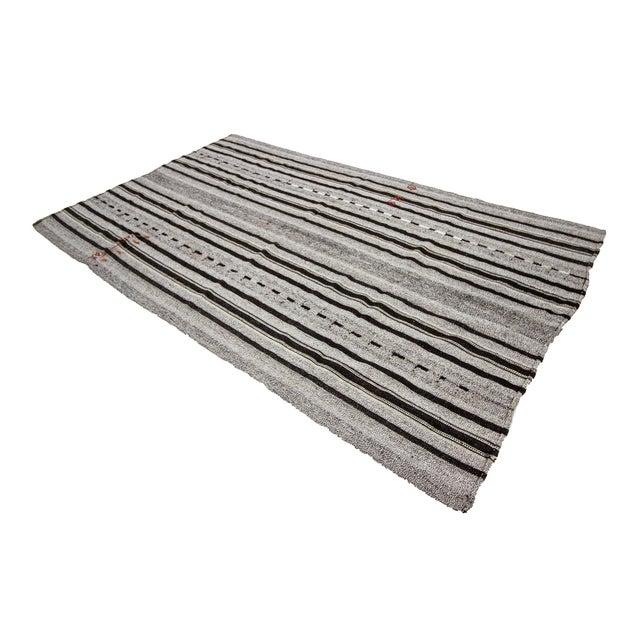 1960s Vintage Gray & Black Striped Kilim Rug- 5′9″ × 9′4″ For Sale - Image 4 of 7