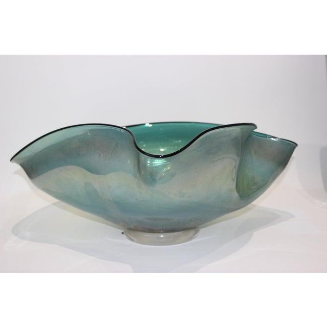 Modern Artisan Glass Biomorphic Form Bowl Silver Flecks For Sale - Image 3 of 13
