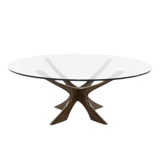 Scandinavian Modern Sculptural Walnut Base Coffee Table by Illum Wikkelsø For Sale