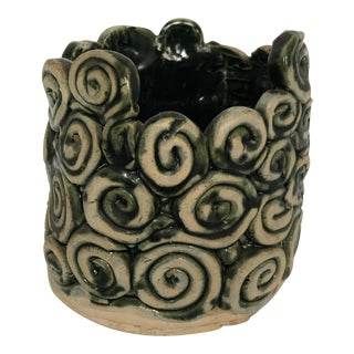 Green Glazed Swirl Pottery Cachepot