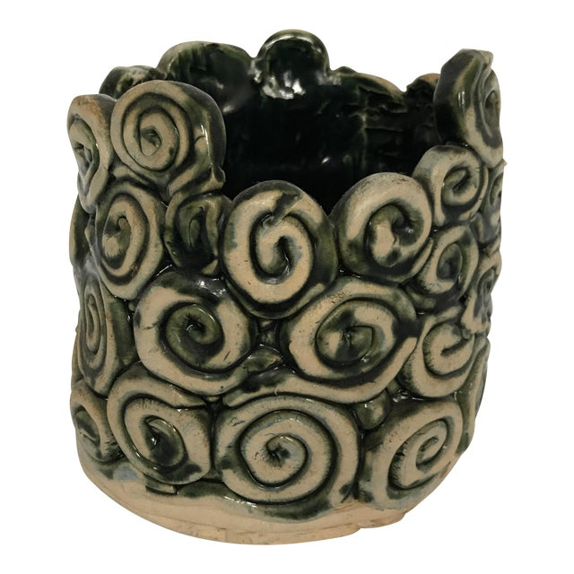 Green Glazed Swirl Pottery Cachepot For Sale