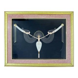 Modern Art Deco Framed Serigraph Necklace Signed Erte 153/300 1992 Gold Foil For Sale