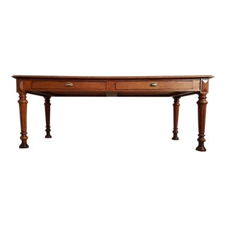 Late 19th Century Antique Louis Philippe Style Period French Conference Dining Table For Sale