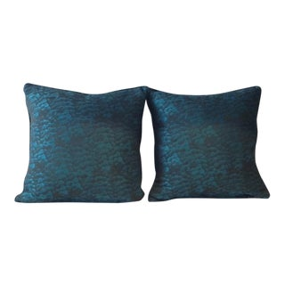 Custom Aquamarine Feather/Down Pillows - A Pair