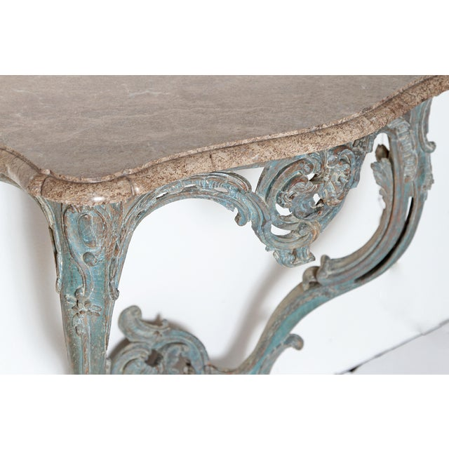 Mid 18th Century Period Painted Louis XV Console With Shaped Marble Top For Sale - Image 5 of 13