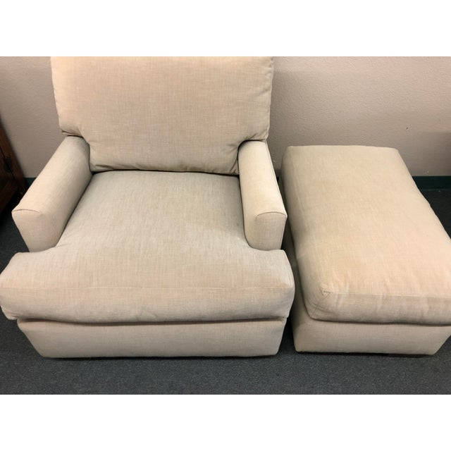 Contemporary Custom Armchair & Ottoman For Sale - Image 4 of 7